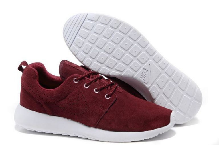 Nike Roshe Run Mens Running Shoes Dark Red White
