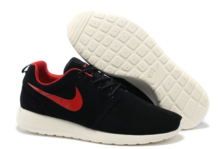Nike Roshe Run Mens Running Shoes Premium Black Alarm Red Sail White