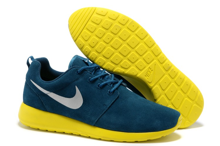 Nike Roshe Run Mens Running Shoes Premium Navy Metallic Silver Lightning Yellow