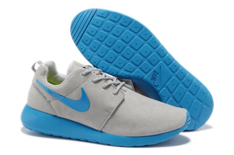 Nike Roshe Run Mens Running Shoes Premium Wolf Grey Peacock Blue