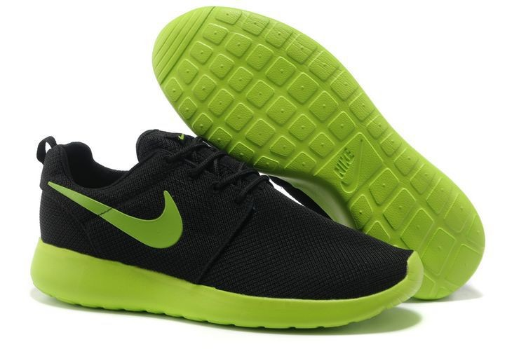 Nike Roshe Run Mesh Mens Trainers Black Fluorescent Green