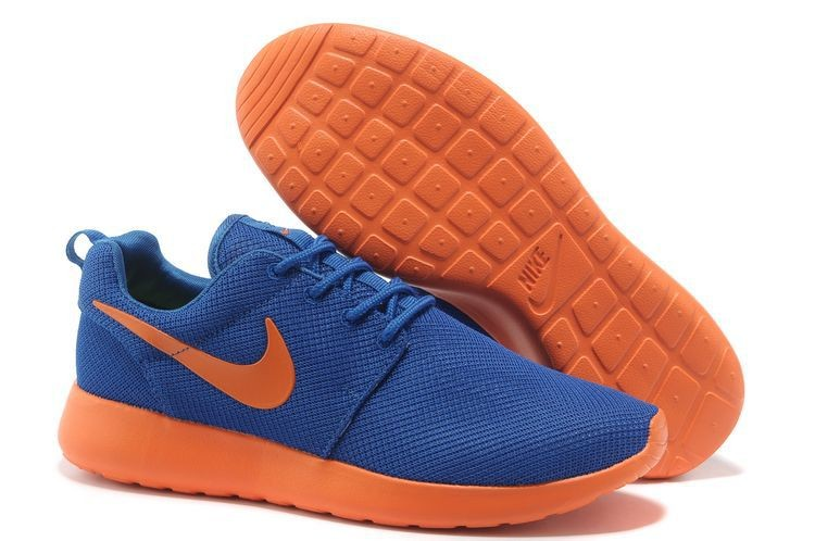 Nike Roshe Run Mesh Mens Trainers Dark Blue Orange