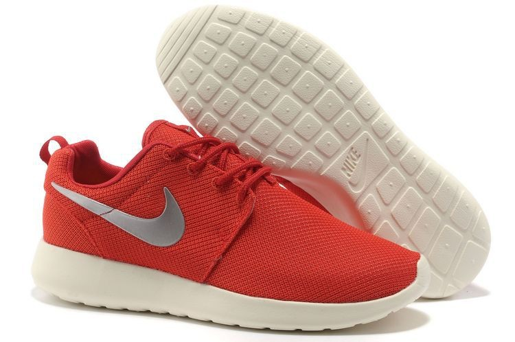 Nike Roshe Run Mesh Mens Trainers Red Black Silver