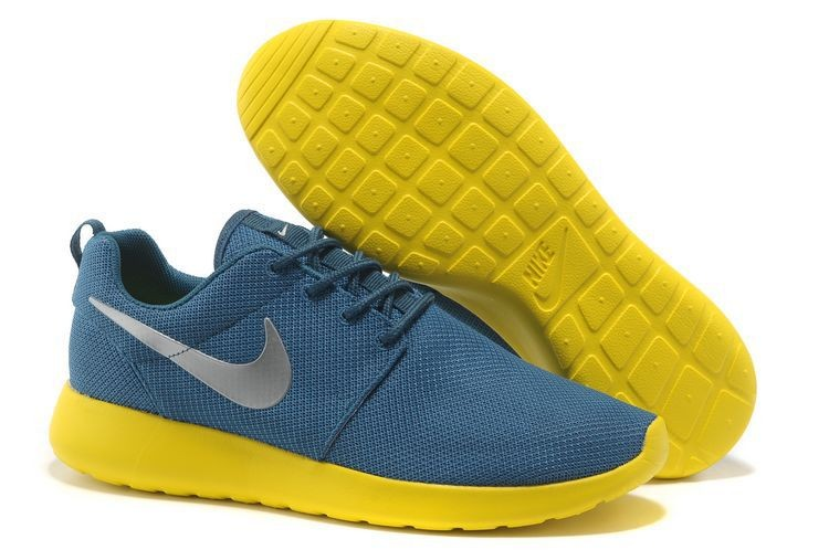 Nike Roshe Run Mesh Womens Trainers Blue Yellow Silver