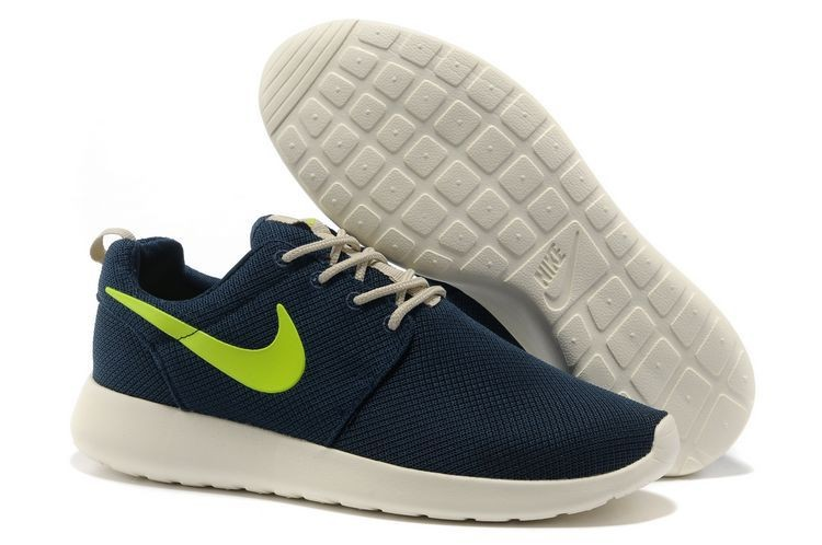 Nike Roshe Run Mesh Womens Trainers Dark Blue Fluorescence Green