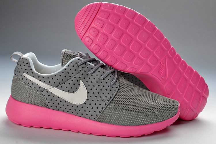 Nike Roshe Run Mesh Womens Trainers Gray Pink White