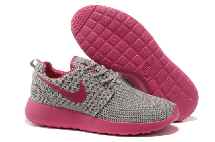 Nike Roshe Run Mesh Womens Trainers Gray Pink