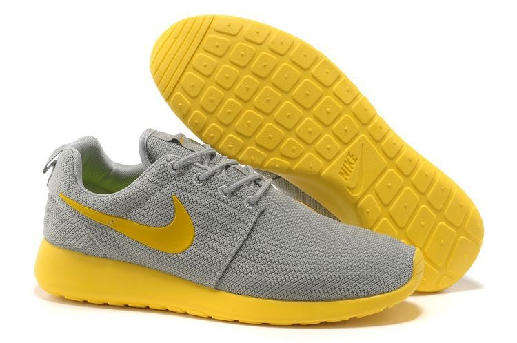 Nike Roshe Run Mesh Womens Trainers Gray Yellow