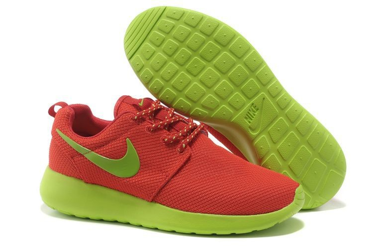 Nike Roshe Run Mesh Womens Trainers Orange Green