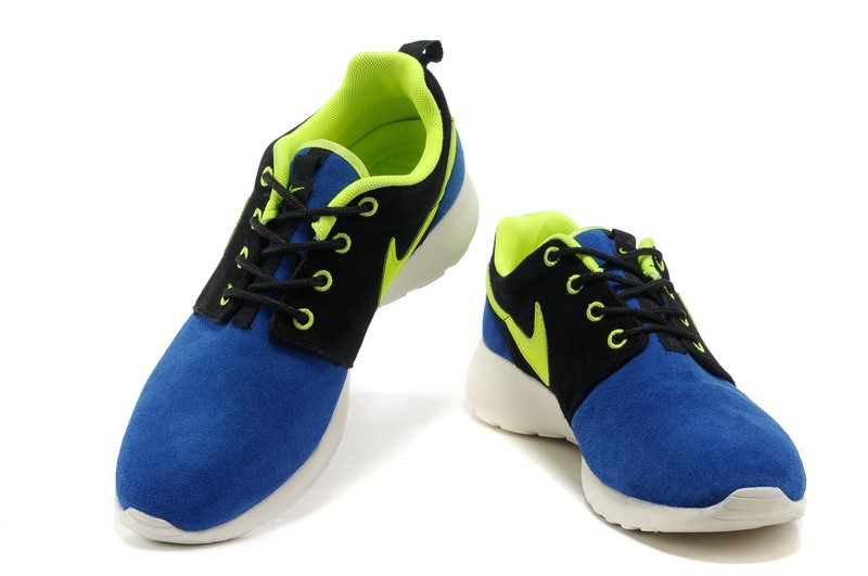 Nike Roshe Run Suede Mens Running Shoes Black DodgerBlue