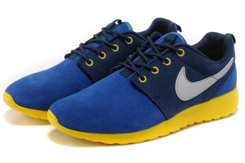 Nike Roshe Run Suede Mens Running Shoes Blue Yellow Silver