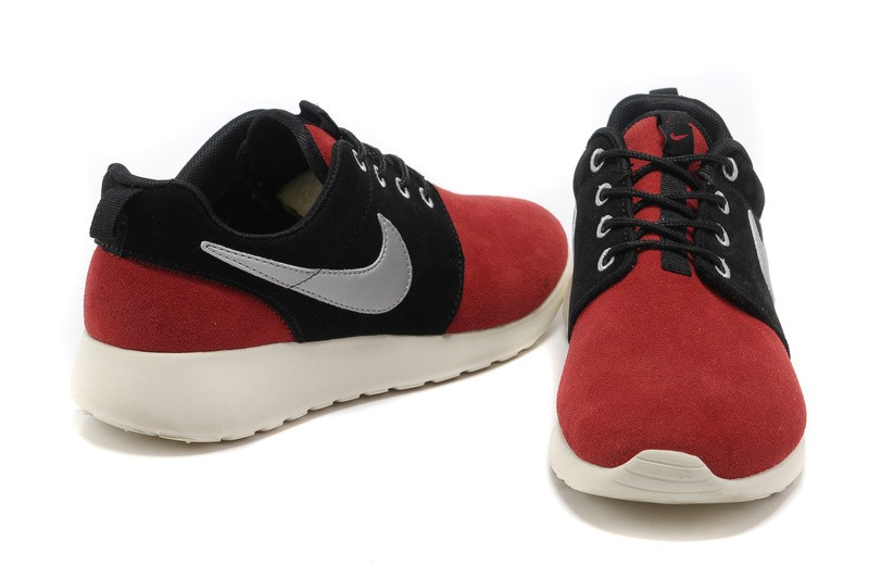 Nike Roshe Run Suede Mens Running Shoes Red Black Silver