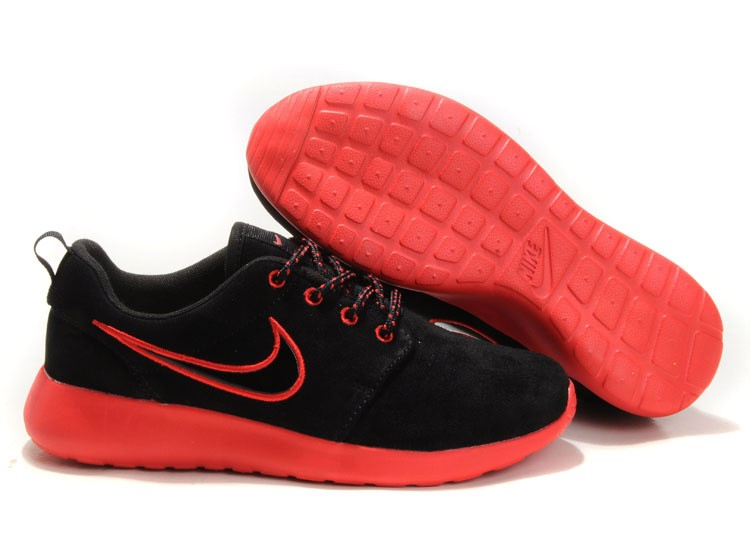 Nike Roshe Run Suede Womens Running Shoes Black Red