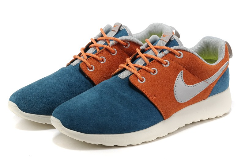 Nike Roshe Run Suede Womens Running Shoes Cyan Orange