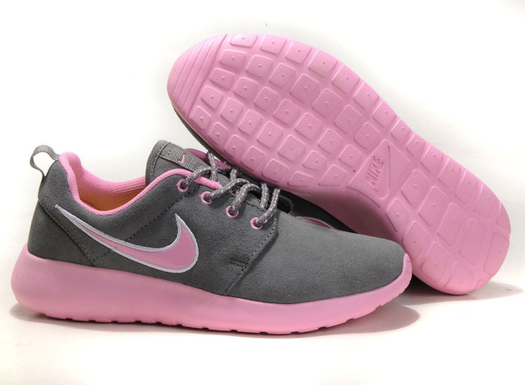Nike Roshe Run Suede Womens Running Shoes Grey Light Pink