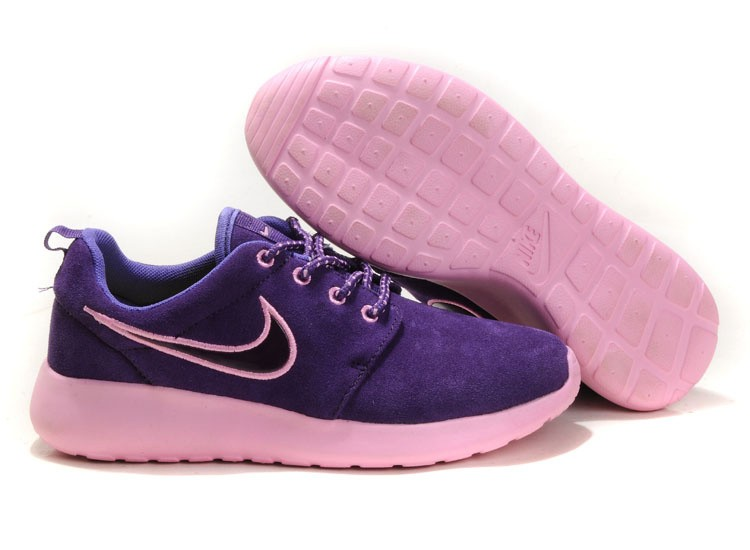 Nike Roshe Run Suede Womens Running Shoes Purple Light Pink