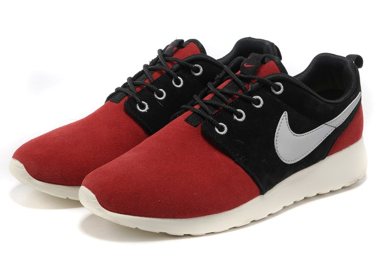 Nike Roshe Run Suede Womens Running Shoes Red Black Silver