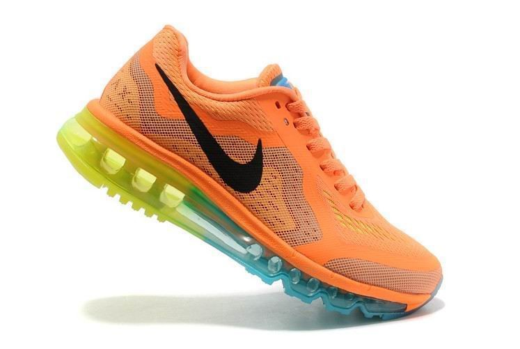 Womens Nike Air Max 2014 Running Shoes Atomic Orange Black Volt Gamma Blue