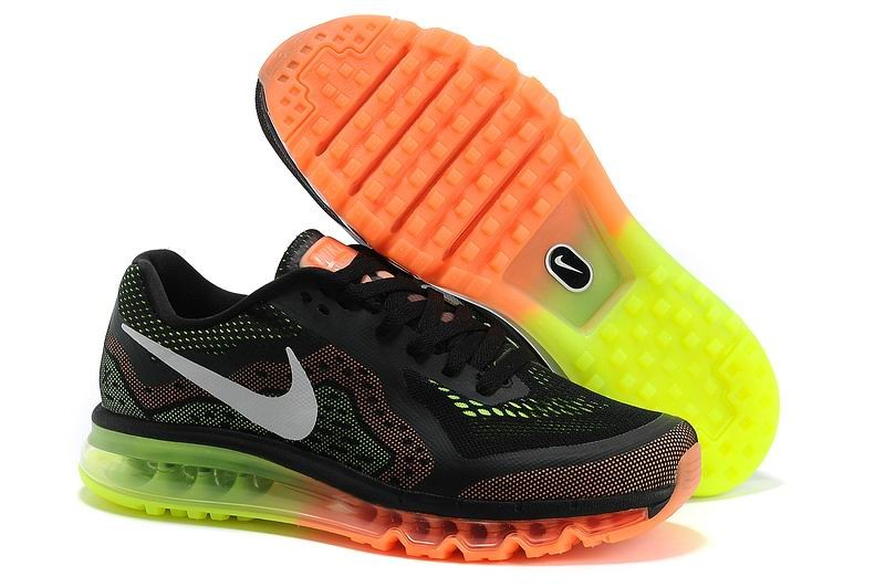 Womens Nike Air Max 2014 Running Shoes Black Electric Green Orange