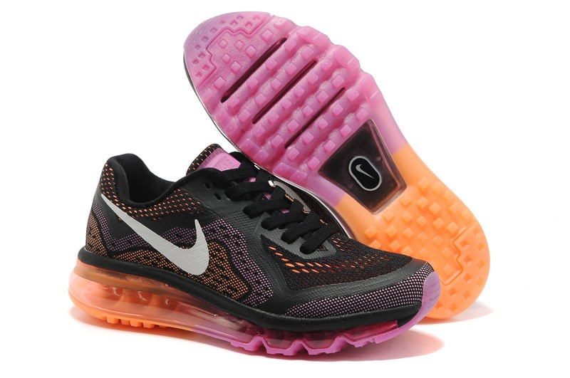 Womens Nike Air Max 2014 Running Shoes Black Sail Red Violet Atomic Orange