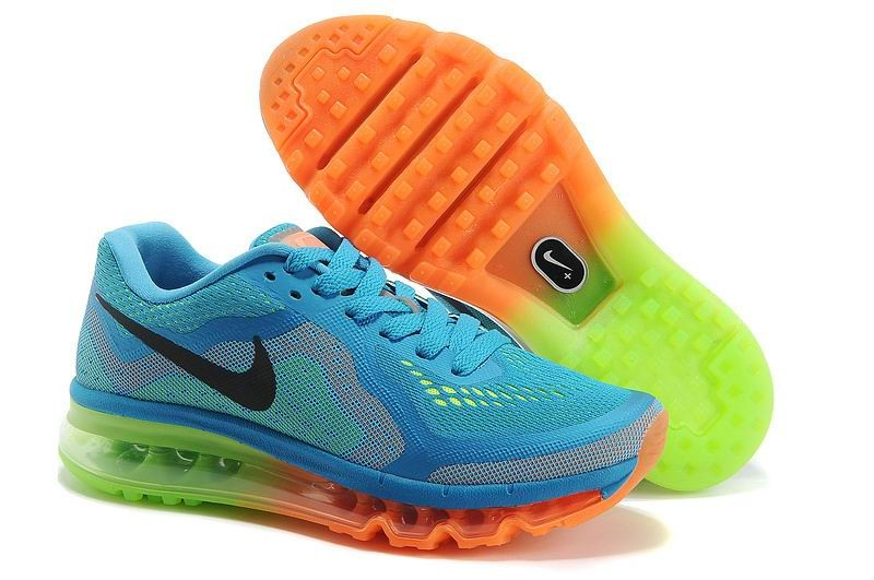 Womens Nike Air Max 2014 Running Shoes Blue Jade Orange Volt