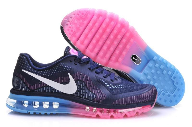 Womens Nike Air Max 2014 Running Shoes Deep Blue Jade Fuchsia