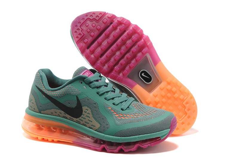 Womens Nike Air Max 2014 Running Shoes Jade Glaze Black Bright Magenta Atomic Orange