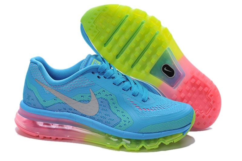 Womens Nike Air Max 2014 Running Shoes Sky Blue Electric Green