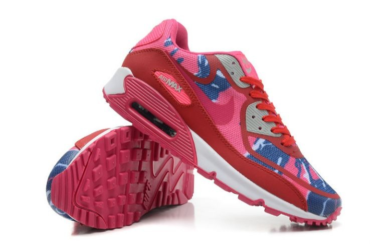 Womens Nike Air Max 90 Premium Tape Runinng Shoes Atomic Red Pink Flash