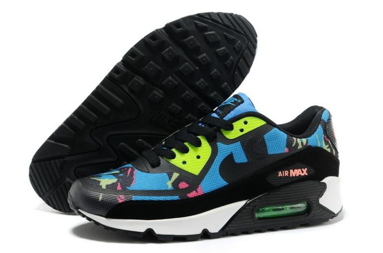 Womens Nike Air Max 90 Premium Tape Runinng Shoes Blue Hero Flash Lime Atomic Red