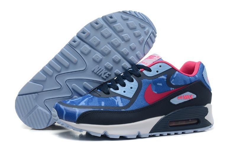 Womens Nike Air Max 90 Premium Tape Runinng Shoes Blue Hero Pink Obsidian