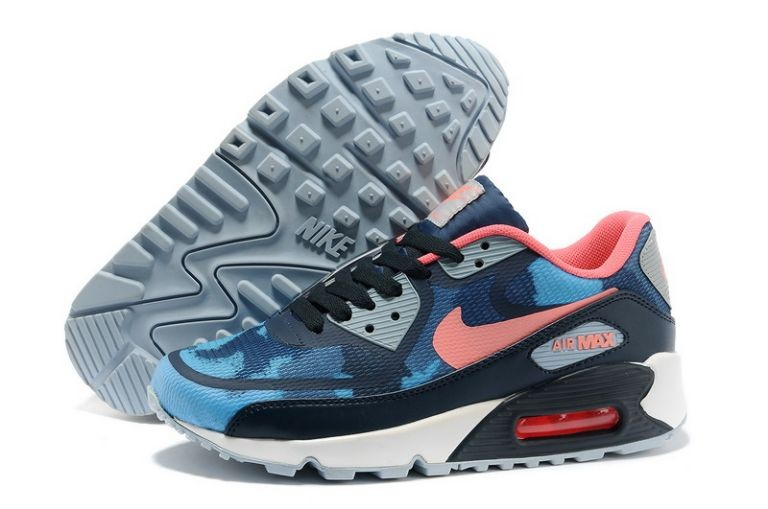 Womens Nike Air Max 90 Premium Tape Runinng Shoes Camo Light Armory Blue