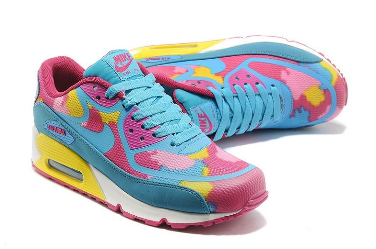 Womens Nike Air Max 90 Premium Tape Runinng Shoes Pink Flash University Blue Yellow