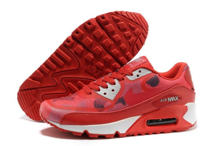 Womens Nike Air Max 90 Premium Tape Runinng Shoes Sport Red Atomic Red