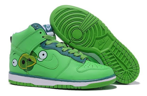 "Womens Nike Dunk SB High Shoes ""Angry Birds"" Green"