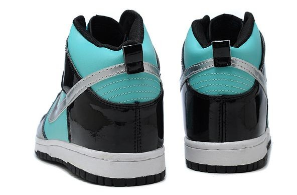 Womens Nike Dunk SB High Shoes Black Blue Silver