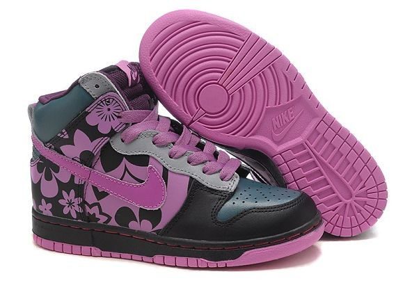 Womens Nike Dunk SB High Shoes Black Grey Purple
