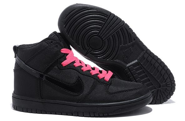 Womens Nike Dunk SB High Shoes Black Pink