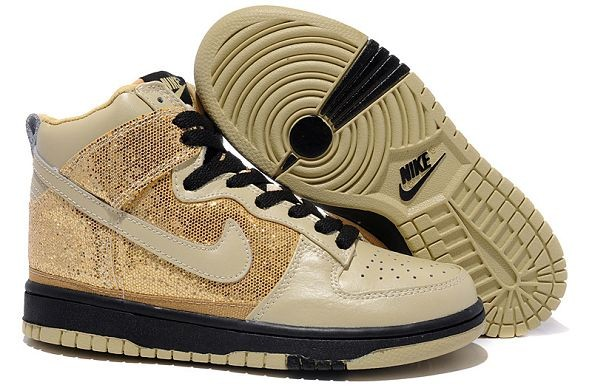 Womens Nike Dunk SB High Shoes Brown Gold Black