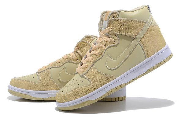 Womens Nike Dunk SB High Shoes Brown Gold
