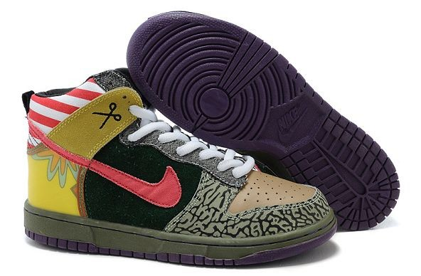 Womens Nike Dunk SB High Shoes Brown Green Pink