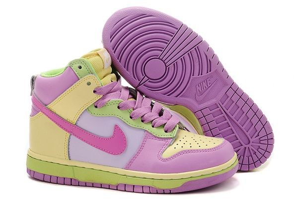 Womens Nike Dunk SB High Shoes Green Purple Yellow