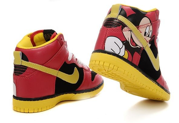 "Womens Nike Dunk SB High Shoes ""Mickey Mouse"" Black Red Yellow"