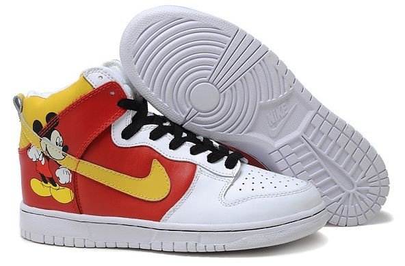 "Womens Nike Dunk SB High Shoes ""Mickey Mouse"" White Red Yellow"