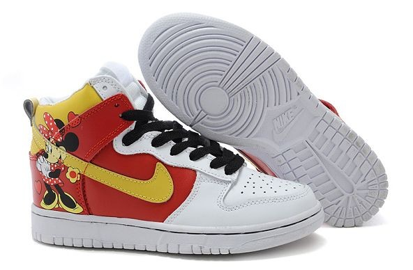 "Womens Nike Dunk SB High Shoes ""Minnie Mouse"" White Red Yellow"