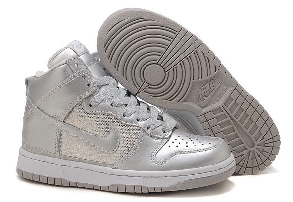 Womens Nike Dunk SB High Shoes Silver