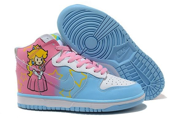 "Womens Nike Dunk SB High Shoes ""Super Mario Games"" Princess Peach"
