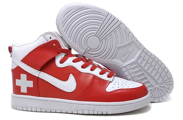 Womens Nike Dunk SB High Shoes Switzerland Red White