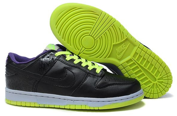 Womens Nike Dunk SB Low Shoes Black Purple Green