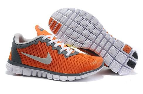 Womens Nike Free 3.0 V2 Total Orange Cool Grey Running Shoes